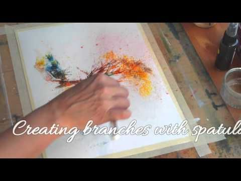 Amazing demonstration of brusho techniques used to create a tree painting
