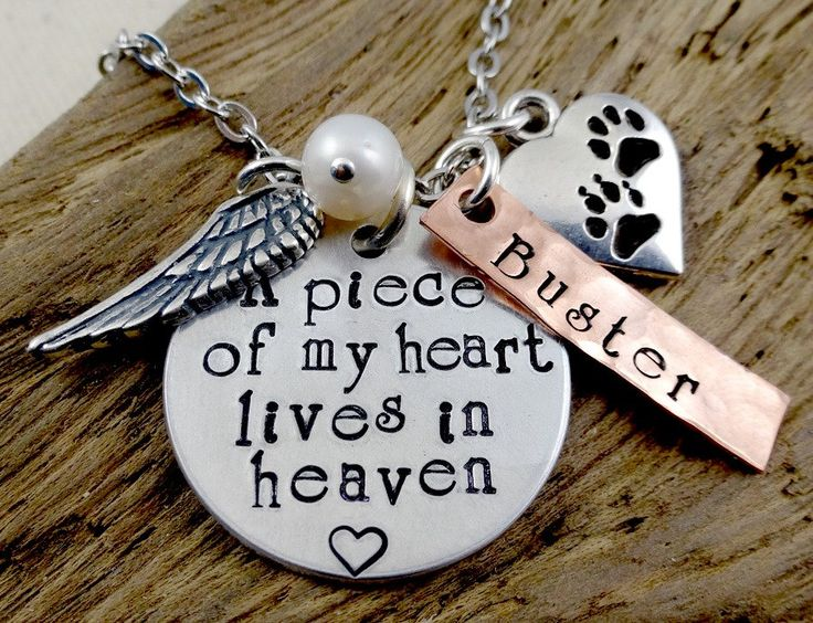 Pet Loss Remembrance - A Piece of My Heart - Hand Stamped Necklace - Dog Cat Pet   Memorial Memento  Jewelry by RoseCreekToo on Etsy https://www.etsy.com/listing/211920169/pet-loss-remembrance-a-piece-of-my-heart