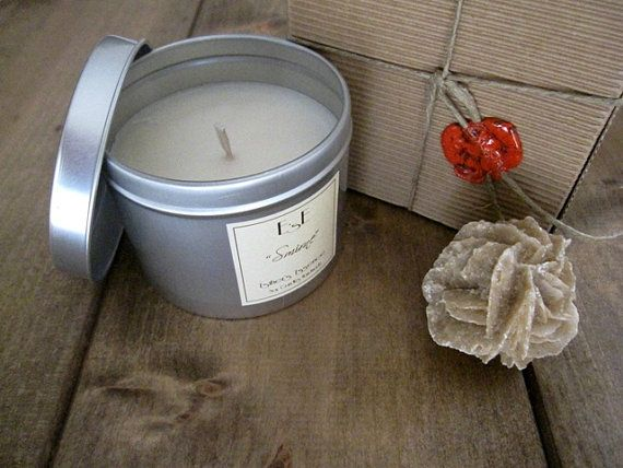 """Soy Candle, Myrrh Frankincense, """"Smirne"""" Tin candle, Aromatherapy, Spiced scent, Luxury candle, Soy wax, Wedding favor, Gift for him"""