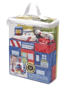 Ev would LOVE this & I think it would get all mucky like the squirty bath toys do! Coast Guard 20 piece Bath Block Set with Storage Bag $18.99