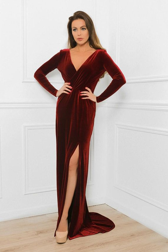 9ee410fe3fa Velvet Maxi Dress With Train  Wrap Neck Long Sleeves Slit Over The Knee   Button On Back Sash