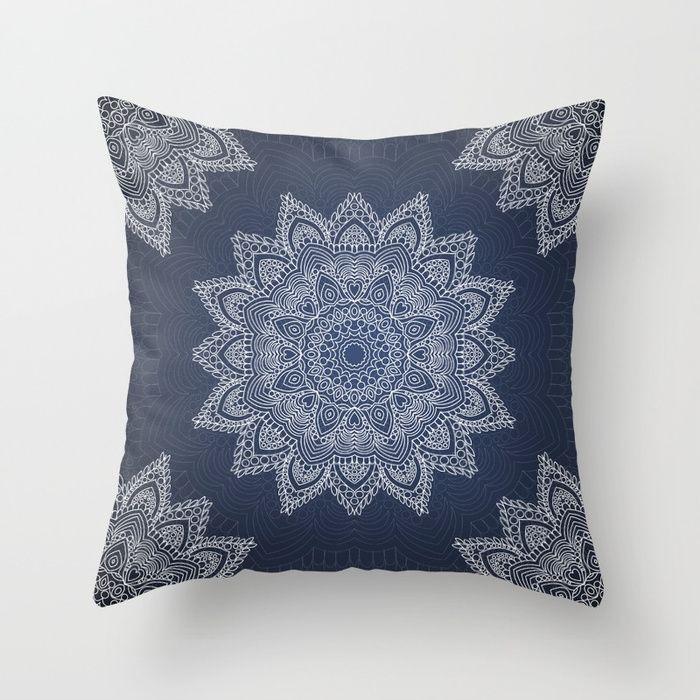 Blue mandala tibetan pattern Throw Pillow