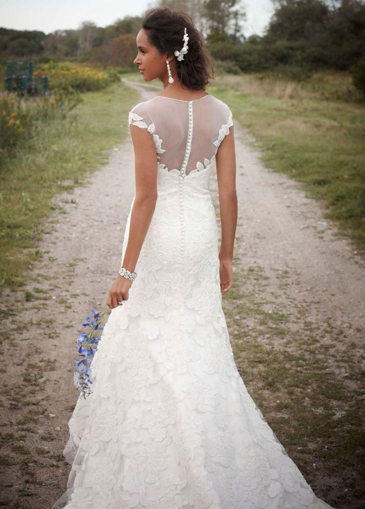 Fit To Flare Wedding Gown With Illusion Neckline