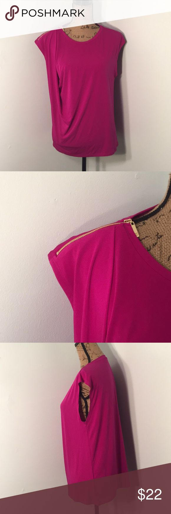 Magenta Ivank Trump Top This is the hot new color for spring.   The zipper does zip on the shoulder. Dry clean only is recommended. Ivanka Trump Tops Blouses