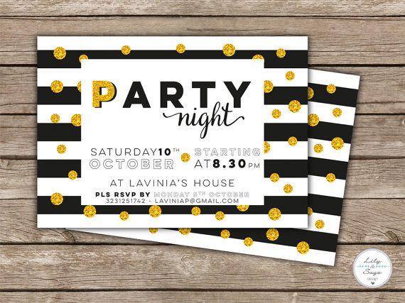 A6 Printable #posh party #invitation on black&white stripes background with glitter polka dots.  #Invito stampabile in formato A6 per un party super #chic! sfondo a #righe bianche e nere con pois #glitter oro.