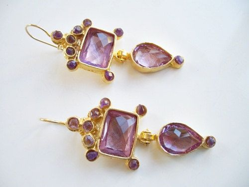 Amethyst  and Purple Glass gold plated earring by beadycats