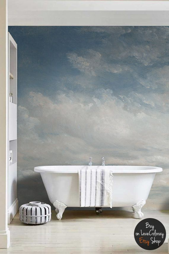 "Light Blue Clouded Wall Mural, Sky Wall Decal, Vintage art removable wallpaper - 118.11"" x 96.06"" (300 x 244cm) #28"
