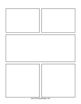 This center action comic page is perfect for longer graphic novels. It includes two top boxes, a large middle box, and two bottom boxes. This page can be combined with other blank comics pages to tell longer stories. Free to download and print