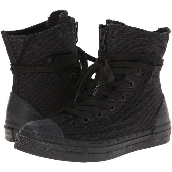 Converse Chuck Taylor All Star Combat Boot X-Hi Lace-up Boots, Black ($43) ❤ liked on Polyvore featuring shoes, boots, converse, black, military lace up boots, converse high tops, black army boots, lace up boots and military combat boots
