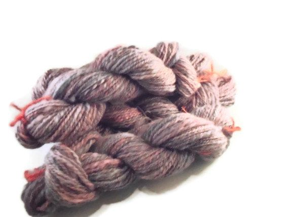 Luxury Spindlespun 2-ply Worsted Falkland Wool Art Yarn - Purple and Rose Color