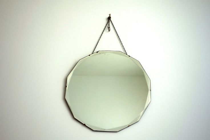 Antique Art Deco Dodecagon Mirror Beveled Frameless Wall