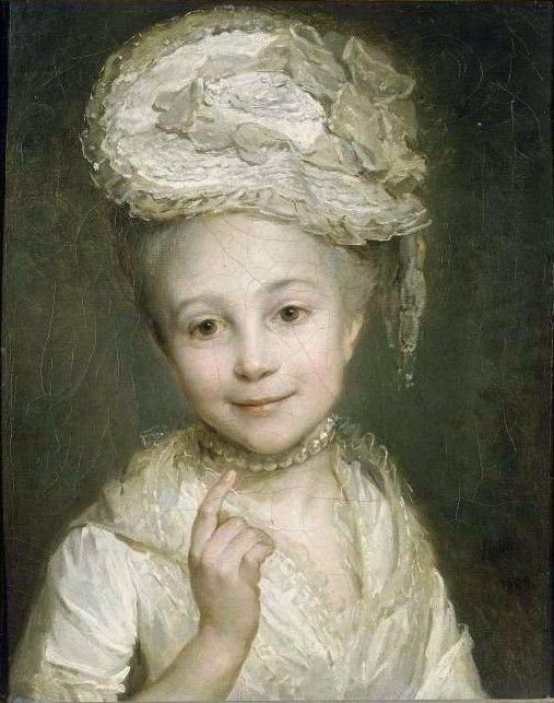 Emilie Vernet, Daughter of the Painter, by Nicolas Bernard Lépicié (1735-1784)   A very young beauty, yes, but so charming in her fashionable hat!