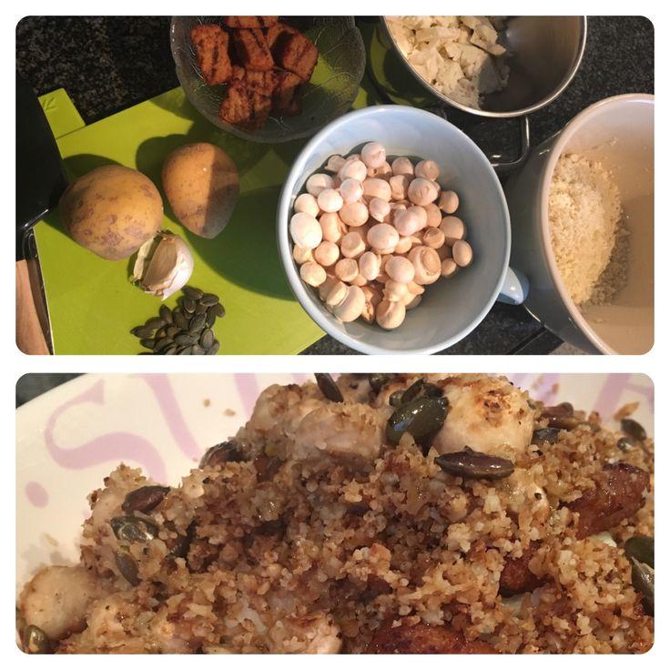 Bloemkool-couscous & bloemkoolpuree met champignons en zonnebloempitten  Bereidingswijze volgt