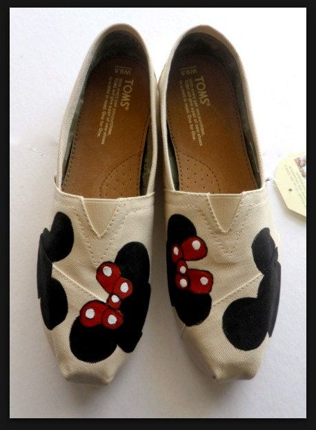Disney Mickey & Minnie Mouse Ear TOMS Painted Disney Shoes Women's Toms