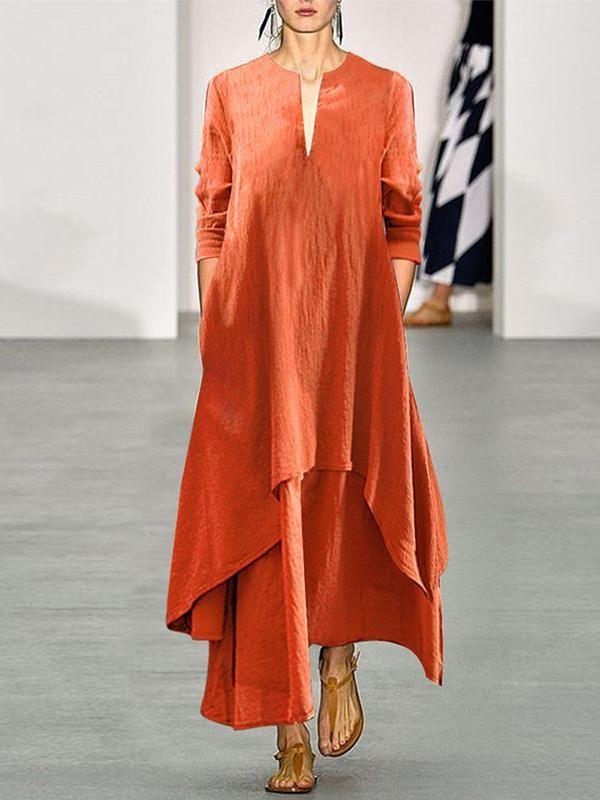 7a718b3a0f Casual Cotton/Linen V Collar Autumn Maxi Dress | maxi dresses | Boho ...