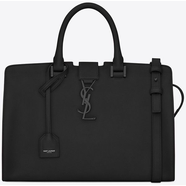 Small Monogram Saint Laurent Cabas Bag In Black Leather (£1,730) ❤ liked on Polyvore featuring bags, handbags, shoulder bags, black, black shoulder bag, black purse, black leather handbags, key ring y black leather purse