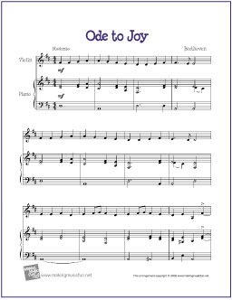 Ode to Joy Free sheet Music for Violin - http://makingmusicfun.net/htm/f_printit_free_printable_sheet_music/ode_to_joy_violin.htm