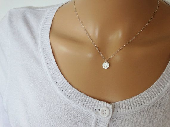 Tiny Silver Circle Necklace With Initial  Sterling by tinysilver