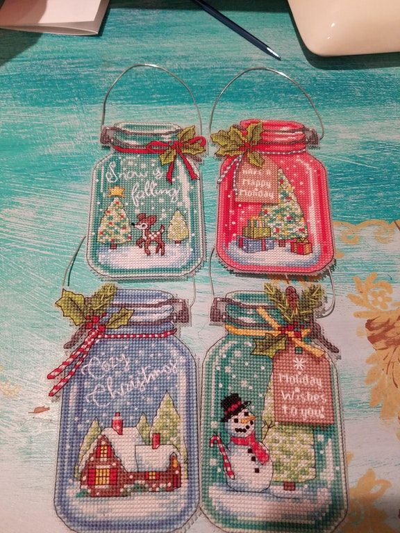 Fo Christmas Jar Ornaments Are Complete Cross Stitch Dimensions Reddit Cross Stitch Christmas Ornaments Cross Stitch Patterns Christmas Xmas Cross Stitch