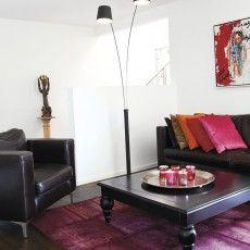 Modern high overarching floor lamp in black metal // High - Sessak