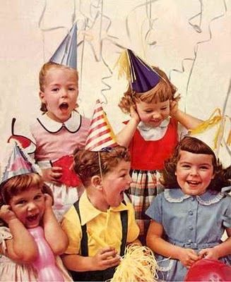 was a kid in the late 70's - If you were at a birthday party - you wore a party dress & every one wore party hats and it was the norm. to have a party in your house!  Jam, cheese spread sarnies, Jam tarts, Fairy cakes, Jelly Rabbits, Scones with a six pence wrapped in grease prof hidden in the middle if you were the lucky one.
