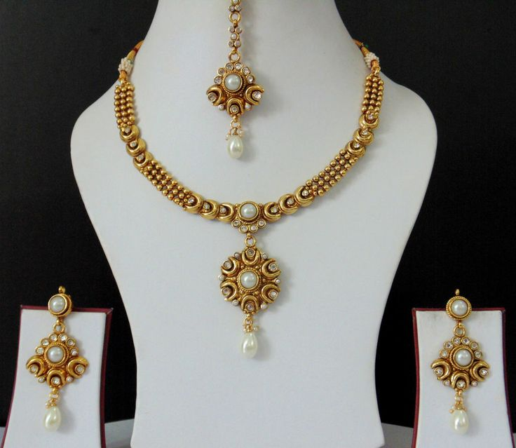 New Necklace Earring Set Gold Polki Jewellery Indian: MSD40 South Indian Jewelry Polki Moon Design Necklace