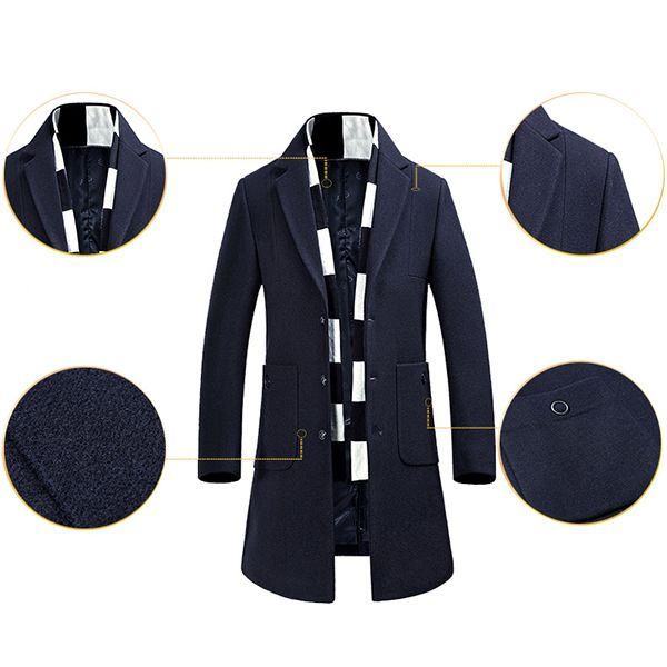 Hot-sale designerLapel Collar Mid Long Wool Business Casual Big Pockets Warm Winter Jacket for Men Online - NewChic Mobile