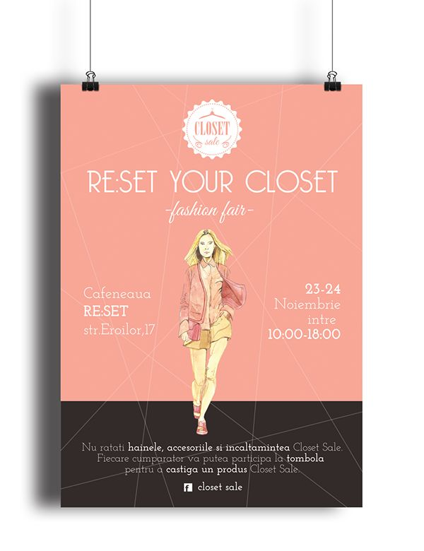 Closet Sale Poster Event. Shopping, outlet, fashion, clothes, illustration, accessories, pink runway
