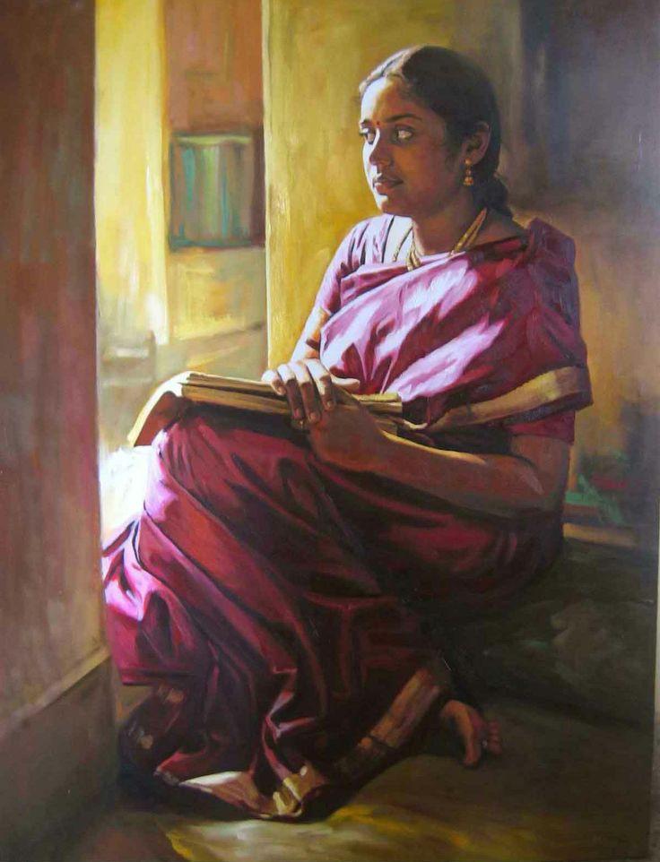 Tamil women in beautiful violet saree & books - Painting by S. Elayaraja (www.elayarajaartgallery.com)