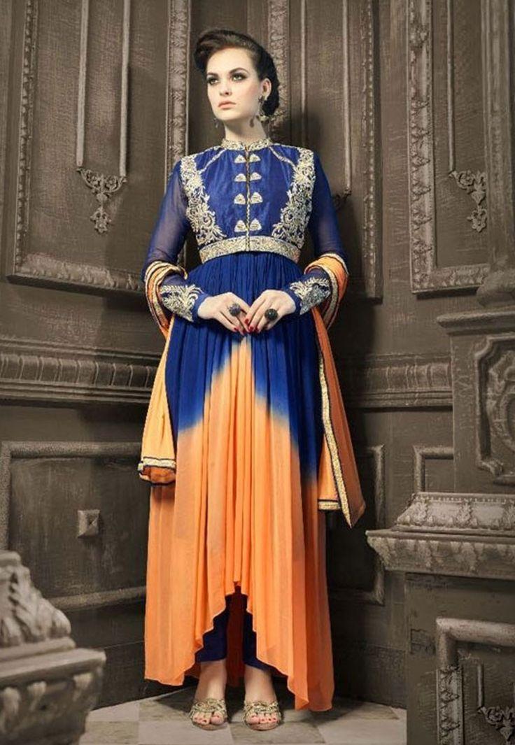 """#Fashion is about two things: the evolution and the opposite."" ""Shop""#Blue & Orange #Color Faux #Gerogette #Designer #Anarkali #Salwar #Kameez"