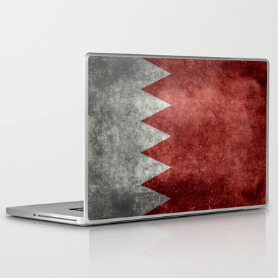 The flag of the Kingdom of Bahrain - Authentic version Laptop & iPad Skin