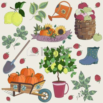 Brouette jardin illustration vecteur de set jardinage for Brouette de jardin