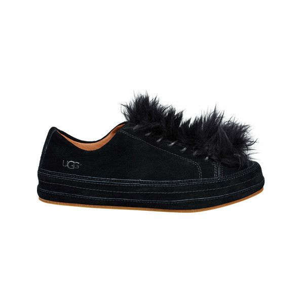 Women's UGG Blake Fur Sneaker ($140) ❤ liked on Polyvore featuring shoes, sneakers, black, casual, black lace up flats, ugg sneakers, black flat shoes, laced up flats and flat pumps