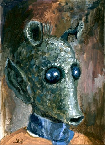 Greedo Star Wars ACEO Sketch Card by Jeff Ward  #greedo #starwars #sketchcard #aceo #painting