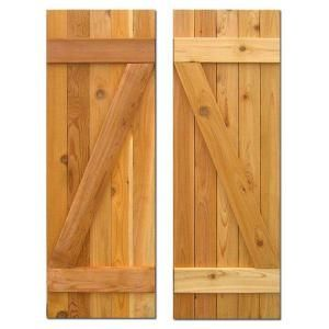 Design Craft MIllworks 15 in. x 43 in. Board-N-Batten Baton Z Shutters Pair Natural Cedar-490125 at The Home Depot
