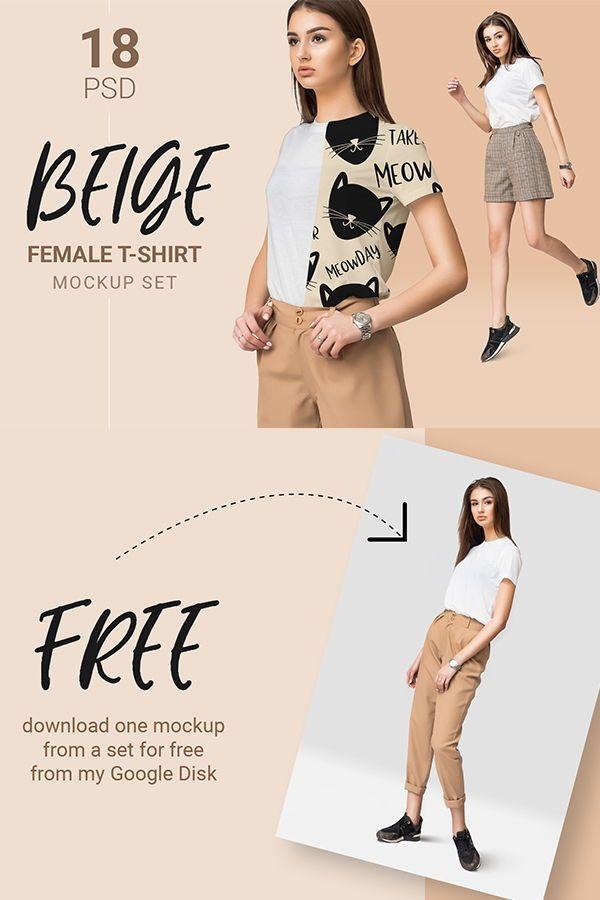 Download Basic Female T Shirt Mockup Set Clothing Mockup Shirt Mockup Shirts