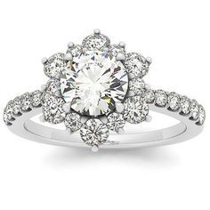 VVS 2.00CT Genuine Diamond Halo Engagement Ring 14K White Gold Vintage Antique Floral Style
