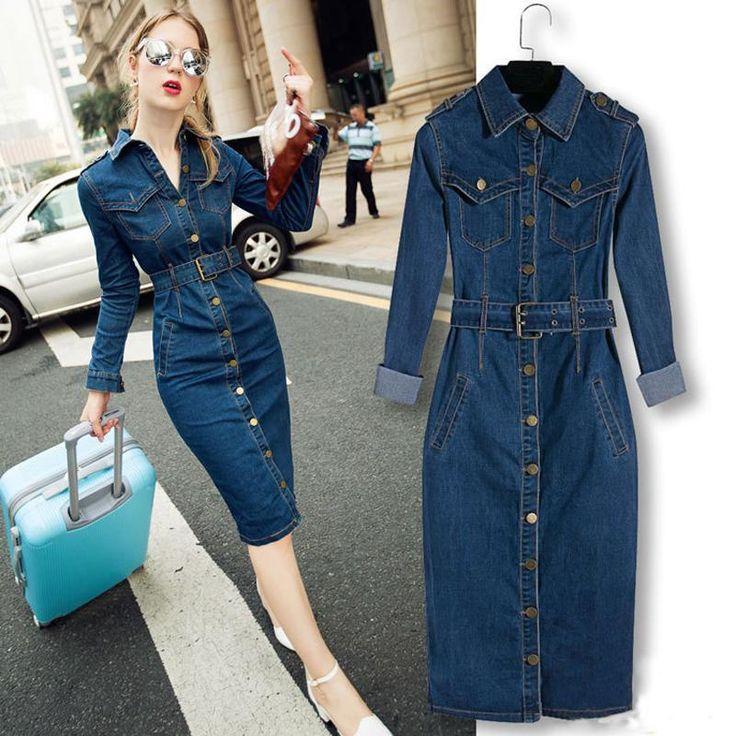Barato 2017 mulheres denim mid calf dress tamanho grande fino blue jeans vestidos one piece cowboy longo dress com cinto para calças de brim das mulheres, Compro Qualidade Vestidos diretamente de fornecedores da China:                                                                                               &n