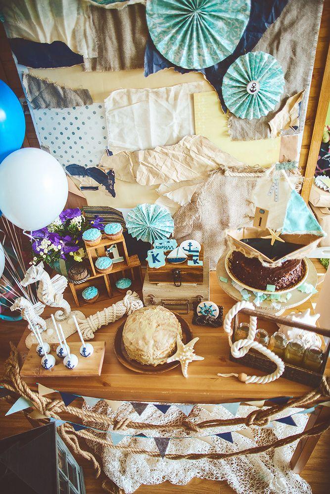 first birthday boy sea party decor candy bar decor by Julia Shteyzel декоратор Юлия Штейзель