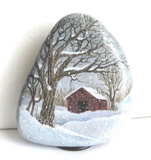 Handpainted+rock-winter+snow+scene-old+red+barn+#Realism...a soft andsnowed winter's day...very pretty!
