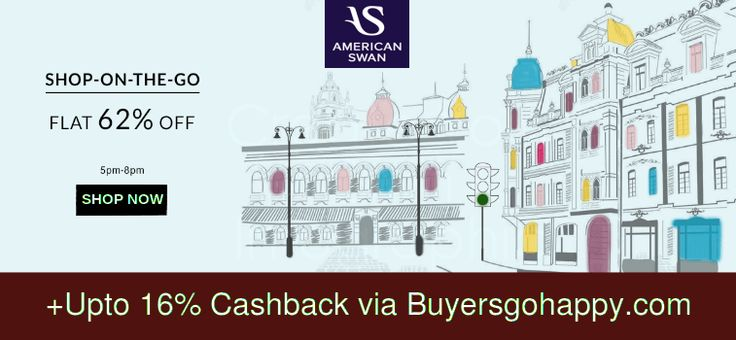 Get Flat 62% Off at #American Swan Store  +Upto 16% #Cashback via #BuyersGoHappy.com https://goo.gl/2GwW2a