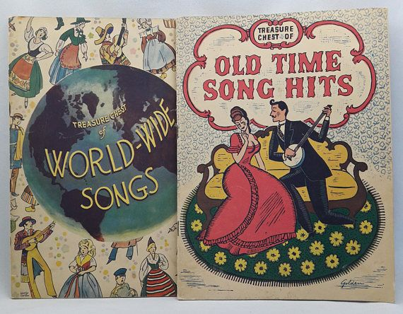 Two Vintage Songbooks Titled Treasure Chest of World-Wide