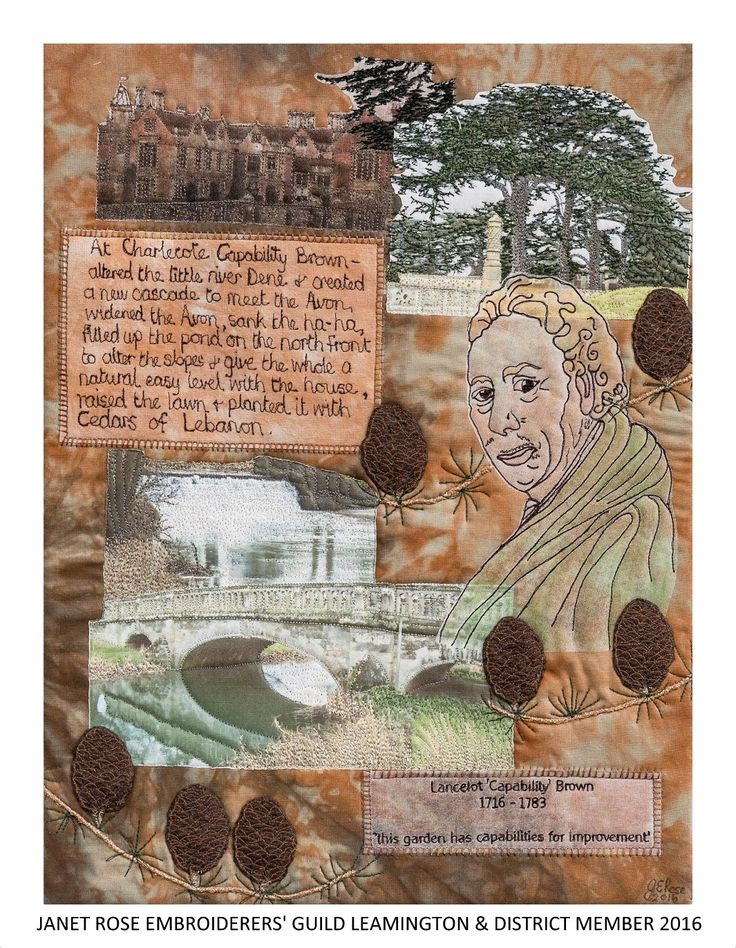 """Changes to Charlecote"" by Janet Rose, Embroiderers' Guild member Leamington Spa branch. Shown as part of the Landscapes of Capability Brown exhibition at Charlecote Park 17 March - 30 October 2016. Exhibition held as part of the UK's Capability Brown Festival"