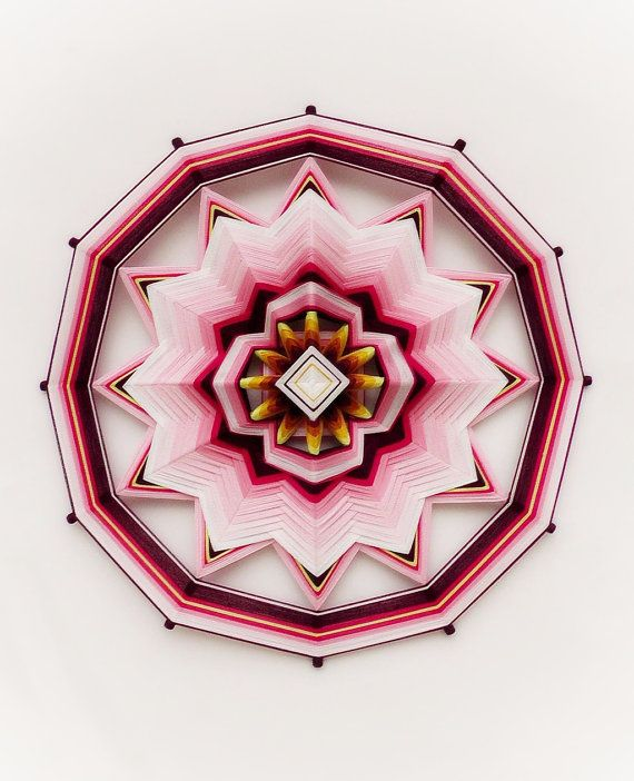 "Mandala Ojo de Dios ""Reiki Healer"" 12-sided 16 inch Cotton thread Fiber art…"