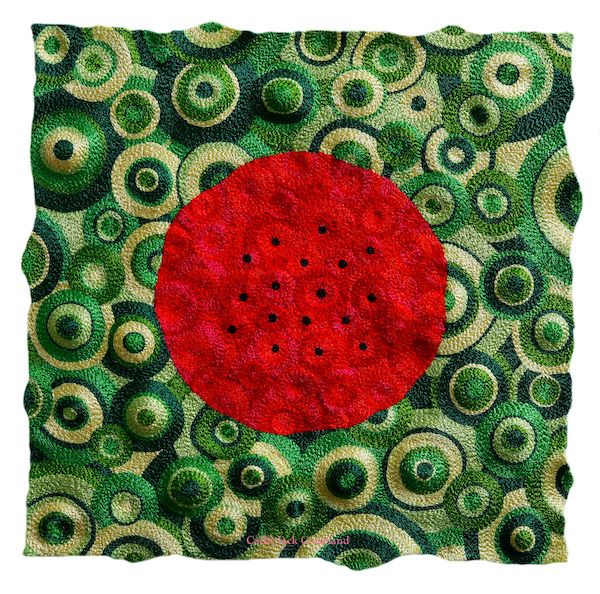 Watermelon 2016.  Free machine embroidered art quilt mounted onto stretched canvas.