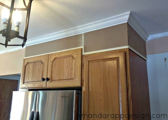 Add height to uneven cabinets to bring to ceiling ideas for Ceiling height kitchen cabinets