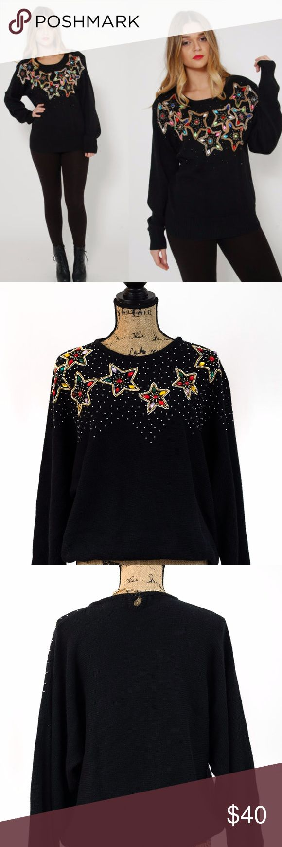 """80's STAR Rhinestone Sweater Ugly Christmas Sparkle in your next office or family party!  Wear this black cotton blend knit sweater with long dolman sleeves, relaxed shoulders and oversized fit.  Filled with multi colored rhinestones that form stars, you surely be the center of attention.  ✅ Pit to Pit: 26"""" ✅ Length: 26"""" ✅ Condition: Excellent pre-owned condition.   Any reasonable offer will be considered. Crystal Sportswear Sweaters Crew & Scoop Necks"""