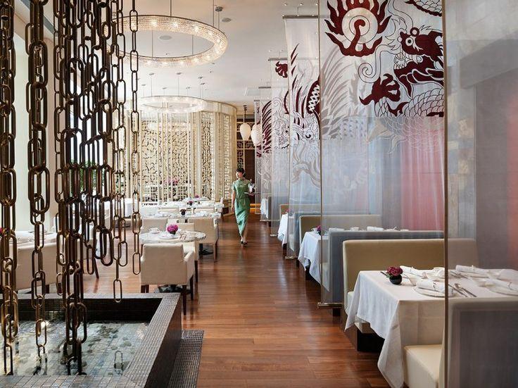 main dining room of yong yi ting restaurant at the mandarin oriental shanghai - Beaded Inset Restaurant Interior