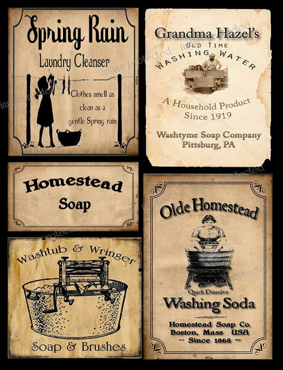 Vintage, Primitive Style Coffee Label ~ Instant Download ~ FH222