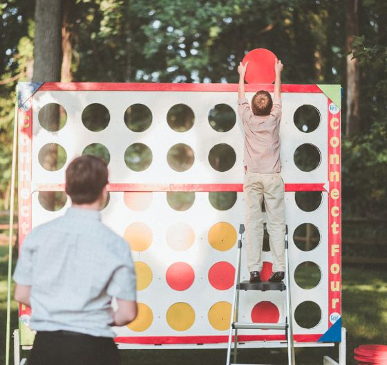giant connect four lawn game for wedding guest entertainment.